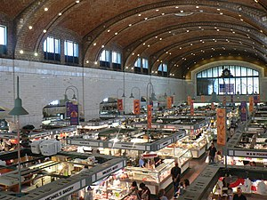 Interior shot of the West Side Market.