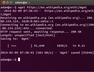 Screenshot of Wget running on Ubuntu and downloading this Wikipedia page about itself.