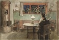 When the Children have Gone to Bed. From A Home (26 watercolours) (Carl Larsson) - Nationalmuseum - 24207.tif