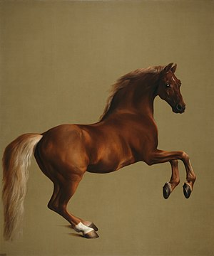 "Whistlejacket is an oil-on-canvas painting from about 1762 showing the Marquess of Rockingham's racehorse, rearing up against a blank background. Edited by uploader from National Gallery scan to add lost ""brownspace"" to the left and right of the painting."