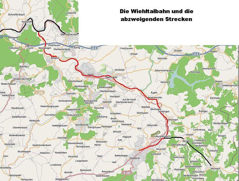 Strecke der Wiehltalbahn