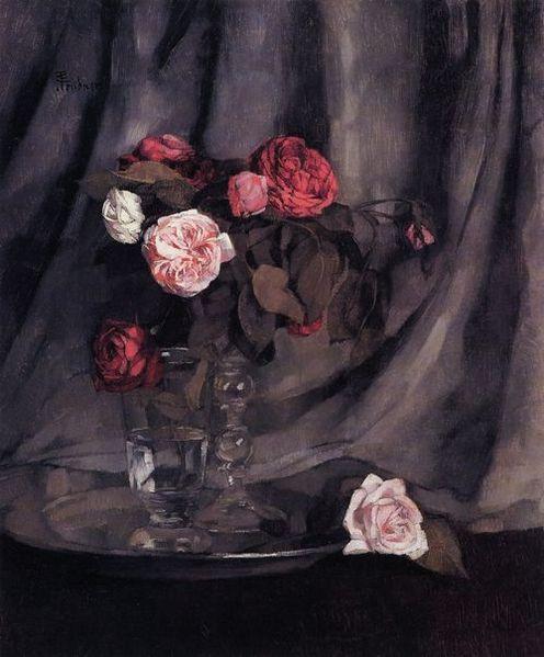 File:Wilhelm Trübner Rote und weiße Rosen.jpg