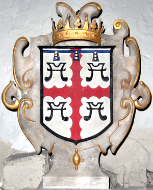 William Bourchier, 3rd Earl of Bath - Canting arms of William Bourchier, 3rd Earl of Bath: Argent, a cross engrailed gules between four water bougets sable a label of three points azure each point charged with three bezants for difference, detail from top of his monument in Tawstock Church