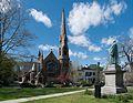 William Ellery Channing statue and Channing Memorial Church, Touro Park, Newport, Rhode Island.jpg