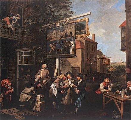 Soliciting Votes by William Hogarth, of Chiswick, Middlesex, 1754. William Hogarth - Soliciting Votes - WGA11457.jpg
