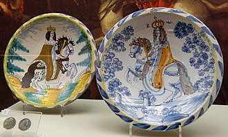 English delftware - Two chargers with William III of England