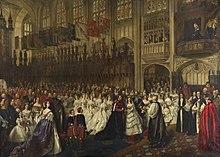 Il matrimonio di Edoardo con Alessandra di Danimarca celebrato il 10 marzo 1863 nella cappella di San Giorgio del castello di Windsor.[9]