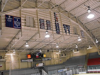 Windsor Arena - Spitfires old banners (in 2012) still hanging in The Barn.  Includes Mickey Renaud, 1988 OHL Championship banner, Adam Graves, etc.
