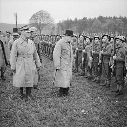 Churchill and General Sikorski review Polish troops in England, 1940 Winston Churchill in the Second World War H4961.jpg