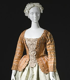 Caraco womans short jacket with wide skirts, of the 18th century