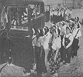 Women's Volunteer Corps leaving dormitory for the Chinkai 51st Naval Air Arsenal.jpg