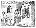 Woodcut of alchemist trying to transmute metals, circa 1503. Wellcome L0012391.jpg