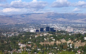 Woodland Hills, Los Angeles - Woodland Hills, California in the foreground, including Warner Center, from the Top of Topanga Overlook