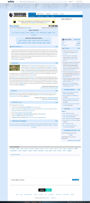Wookieepedia - Screenshot of Wookieepedia in 2015.