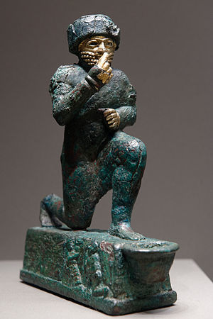 "Amurru (god) - ""The Worshipper of Larsa"", a votive statuette dedicated to the god Amurru for Hammurabi's life, early 2nd millennium BC, Louvre"