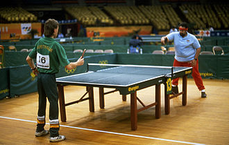 Australia at the 1988 Summer Paralympics - Australian tennis player practising with a player from another country