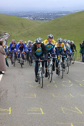 Yaroslav Popovych - Popovych leads the Astana team in the chase over Patterson Pass during Stage 3 of the 2009 Tour of California.