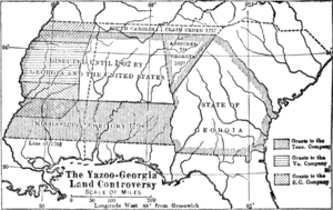 Yazoo land scandal - Map of the American Deep south, showing the three areas which constituted the 1789 Yazoo land scandal.