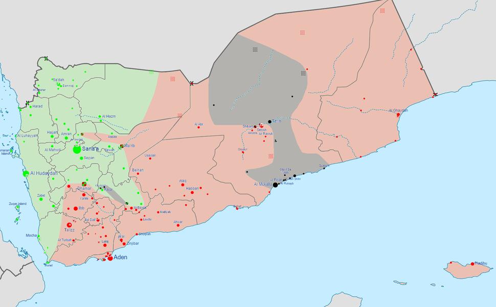Yemen civil war detailed map (august 2015)