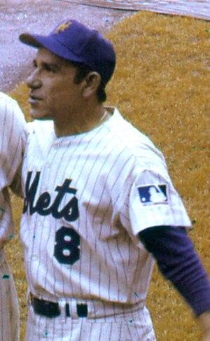 Yogi Berra - Berra as the New York Mets' first base coach, 1969.