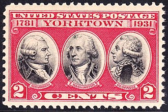 François Joseph Paul de Grasse - US Postage Stamp, 1931 issue, honoring Rochambeau, George Washington and De Grasse, commemorating the 150th anniversary of the victory at Siege of Yorktown, 1781.