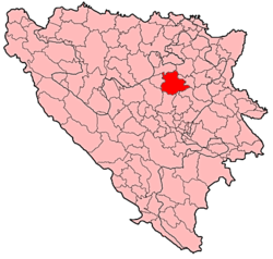 Location of Zavidovići within Bosnia and Herzegovina.