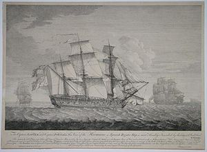 HMS Active (1758) - Active (right) engaging the Spanish frigate Hermione (centre) in 1762: sketch by Richard Wright