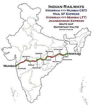 Howrah–Nagpur–Mumbai line - Howrah–Nagpur–Mumbai line map