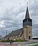 Église Saint-Antoine de Petit-Thier and a backpacking cyclist (DSCF5678) Vielsalm, BE.jpg