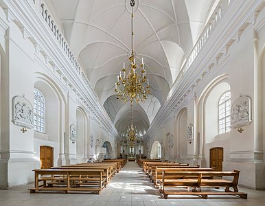 The interior of Šiauliai Cathedral looking east in Šiauliai, Lithuania.