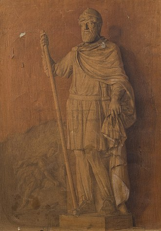 Tiridates I of Armenia - A painting of the statue by Panos Terlemezian