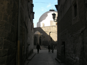 Tahla Mosque - View of the entrance and the dome of the Tahla mosque.