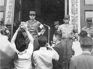May 16 coup - The leaders of the Military Revolutionary Committee pictured on 20 May, four days after the coup: Chairman Chang Do-yong (left) and Vice-Chairman Park Chung-hee (right).