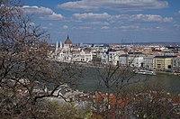 03 2019 photo Paolo Villa - F0197877 bis- Budapest - Veduta dalla Stazione funicolare alta, Danubio, Parlamento , alberi cespugli.jpg