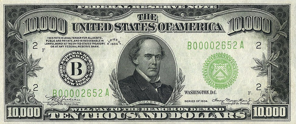 10000 USD note; series of 1934; obverse