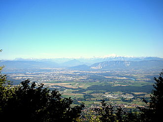 Canton of Geneva - View from beneath Le Reculet towards the canton of Geneva, Annemasse, the Salève, and the Mont-Blanc