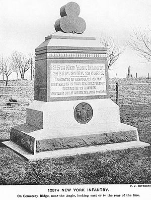 125th New York Volunteer Infantry Regiment - Monument to the 125th New York Volunteer Infantry Regiment at Gettysburg, Pennsylvania. The cloverleaf on top of the monument was the insignia of II Corps, 3rd Division.