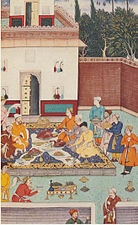 1507-A banquet including roast goose given for Babur by the Mirzas.jpg