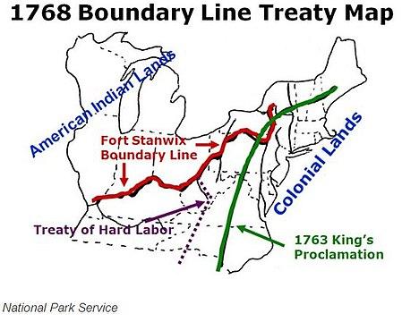 """""""1768 rajalinjasopimuskartta"""" irrooseille kuudelle kansakunnalle ja sivujärjestöryhmille Stanwix-linnoituksen ja Ohio-joen pohjoispuolella;  ja Cherokee ja Creeksin kohdalla Ohio-joesta etelään ja länteen modernista Roanokesta, Virginia, violetti viiva 1768 """"Kovan työn sopimus"""" on itäisen mannerosuuden länsipuolella, edellisen vuoden 1763 """"Kuninkaan julistuksen"""" vihreä viiva."""