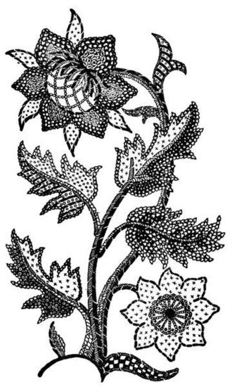 Jacobean embroidery - Image: 17th century embroidered curtain motif