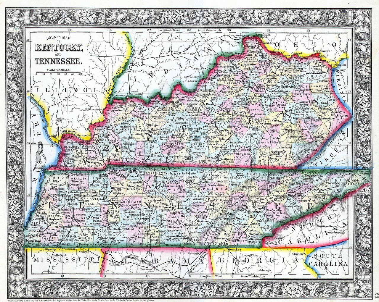 File1862 Mitchell Map Of Kentucky And Tennessee