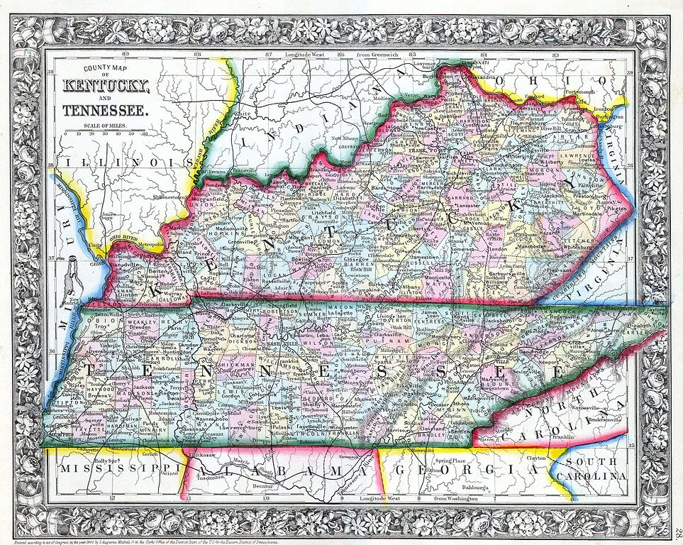 File1862 Mitchell Map of Kentucky and Tennessee Geographicus