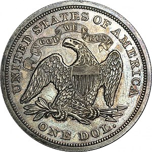 Seated Liberty dollar - Image: 1871 Proof Seated Liberty dollar reverse