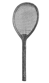 view of a tennis racket from 1876