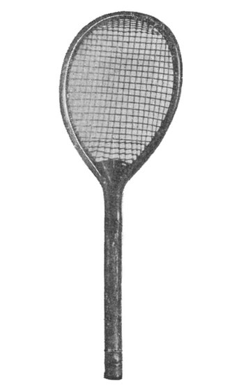 1877 Wimbledon Championship - A lawn tennis racket from 1876 with its characteristic slightly lopsided head