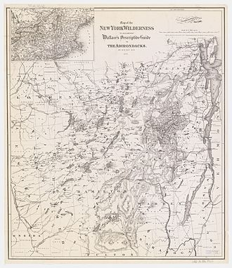 Adirondack Mountains - 1876 map of the Adirondacks, showing many of the now obsolete names for many of the peaks, lakes, and communities