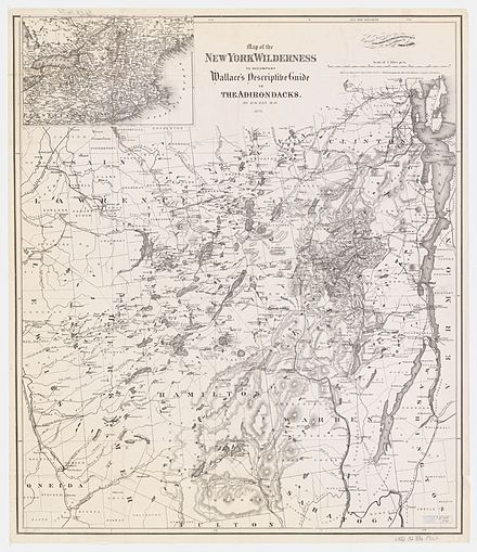 A 1876 map of the Adirondacks, showing many of the now obsolete names for many of the peaks, lakes, and communities