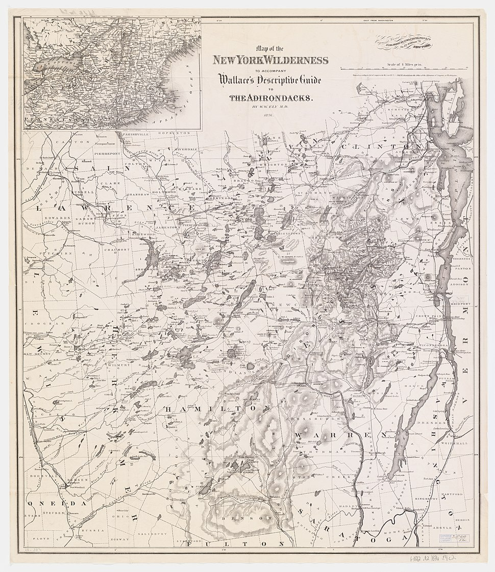 1876 Wallace Guide Map of NY Wilderness