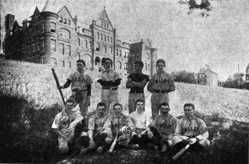 Pitt baseball circa the 1890s when the school was known as the Western University of Pennsylvania. The players are posing in front of Main Hall when the campus was located on Observatory Hill on Pittsburgh's North Side. 1890sPittbaseball.jpg