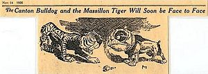 Canton Bulldogs–Massillon Tigers betting scandal - Cartoon promoting the now famous 1906 series between Massillon and Canton.